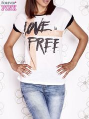 Butik Ecru t-shirt z napisem ONLY LOVE IS FOR FREE