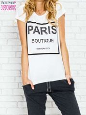 Ecru t-shirt z napisem PARIS BOUTIQUE z dżetami