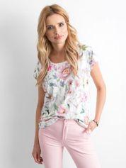 Ecru zwiewny t-shirt w kwiaty