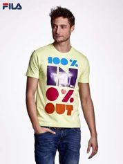 FILA Limonkowy t-shirt męski  napisem 100% IN 0% OUT