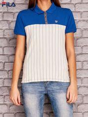 FILA Niebieski modułowa koszulka polo z motywem pasków