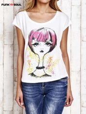FUNK N SOUL Biały t-shirt z rysunkowym nadrukiem