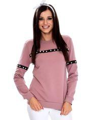 Fioletowa bluza z aplikacją z perełek