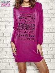 Fioletowa sukienka z napisem NEW YORK CITY