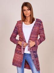 Fioletowy melanżowy sweter z wiązaniem