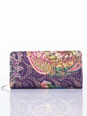 Fioletowy portfel z nadrukiem paisley