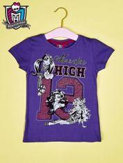 Fioletowy t-shirt dla dziewczynki MONSTER HIGH z brokatowym nadrukiem