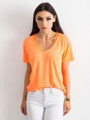 Fluo pomarańczowa bluzka z krótkim rękawem