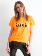 Fluo pomarańczowy luźny t-shirt Lovers