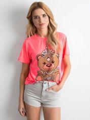 Fluo różowa koszulka z błyszczącą aplikacją