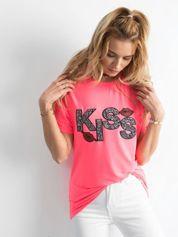 Fluo różowy t-shirt z aplikacją