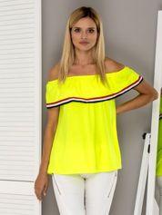Fluo żółta bluzka hiszpanka z trójkolorowym wykończeniem