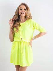 Fluo żółta sukienka z guzikami