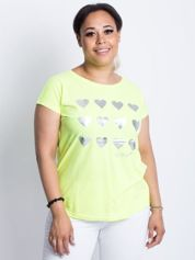 Fluo żółty t-shirt plus size Hearties