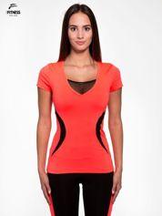 Fluoróżowy termoaktywny t-shirt sportowy z siateczką przy dekolcie ♦ Performance RUN