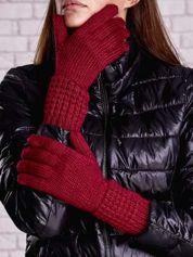 Fuksjowe długie rękawiczki z fantazyjnym ściągaczem