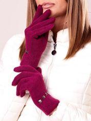 Fuksjowe rękawiczki damskie z ćwiekami