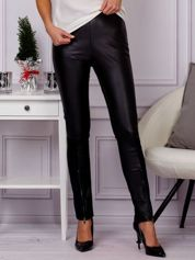 G by BACZYŃSKA Czarne spodnie legginsy z eko skóry