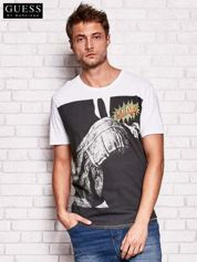 GUESS Biały t-shirt męski z nadrukiem