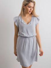 Gładka sukienka szara