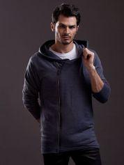 Grafitowa bluza męska z asymetrycznym suwakiem