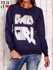 Granatowa bluza z napisem BAD GIRL
