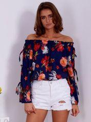 Granatowa bluzka hiszpanka w kolorowe kwiaty