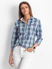Granatowa koszula damska w kratę