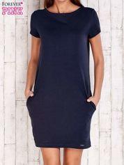 Granatowa sukienka dresowa z kieszeniami