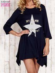 Granatowa tunika dresowa z printem gwiazdy