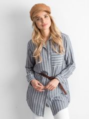 Granatowa tunika koszulowa w paski