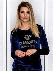 Granatowa welurowa bluza z diamencikami i perełkami