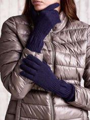 Granatowe długie rękawiczki z przeszywanym ściągaczem