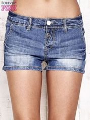 Granatowe jeansowe szorty z przetarciami