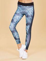 Granatowe legginsy we wzory