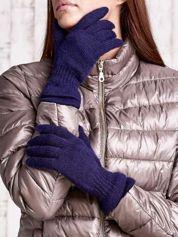 Granatowe rękawiczki ze ściągaczem i podwójnym mankietem