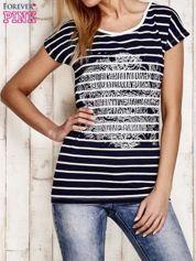 Granatowo-biały t-shirt w paski z napisem SCORPION BAY