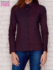 Granatowo-bordowa koszula w drobne paski