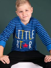 Granatowo-niebieska bluzka w paski dla dziewczynki z napisem LITTLE STAR