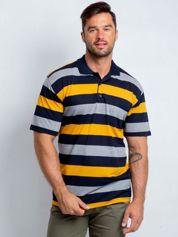 Granatowo-żółta męska koszulka polo plus size Crowdy