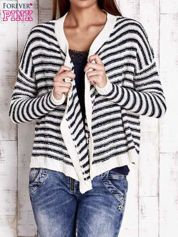 Granatowy otwarty sweter w paski