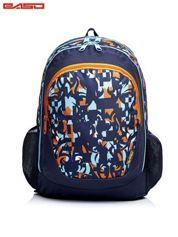 Granatowy plecak szkolny w kolorowe wzory