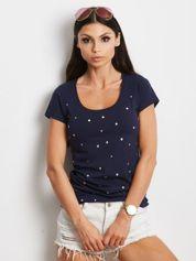 Granatowy t-shirt z aplikacją