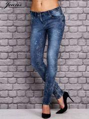 JEANS Niebieskie dekatyzowane spodnie jeansowe
