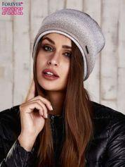 Jasnobeżowa czapka ombre ze srebrną nitką