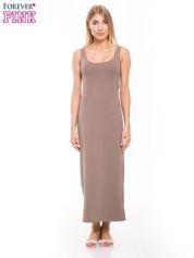Jasnobrązowa długa sukienka maxi na ramiączkach