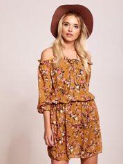 Jasnobrązowa sukienka hiszpanka w kwiatki