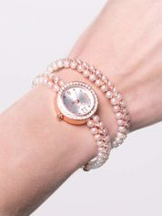 Jasnoróżowy zegarek damski na podwójnej bransolecie z pereł