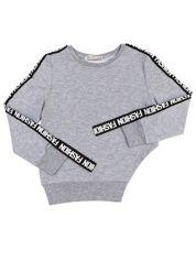 Jasnoszara asymetryczna bluza dziewczęca z taśmą