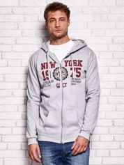 Jasnoszara bluza męska z nowojorskimi motywami